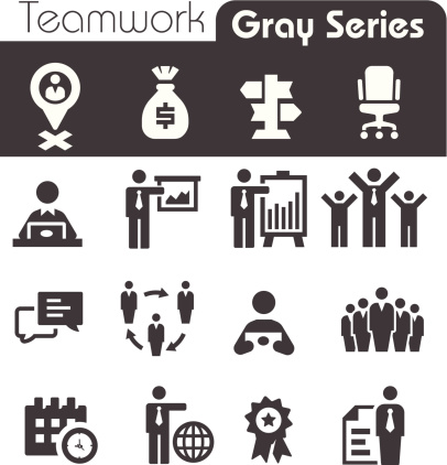 Teamwork Icons Gray Series