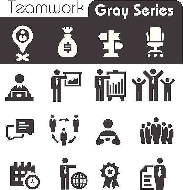 Teamwork Icons Gray Series Teamwork Icons Gray Series one man only stock illustrations