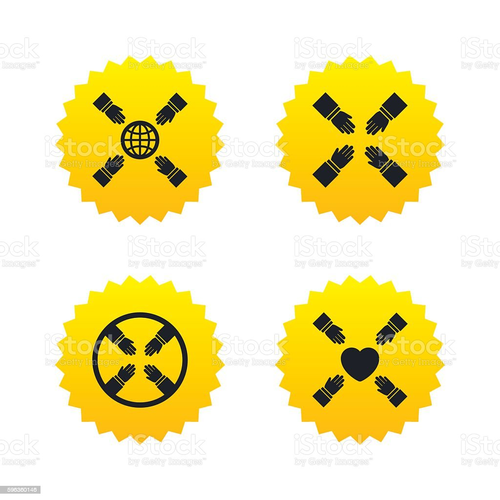 Teamwork icons. Helping Hands symbols. royalty-free teamwork icons helping hands symbols stock vector art & more images of assistance