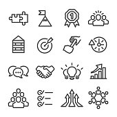 Teamwork Icons - Line Series