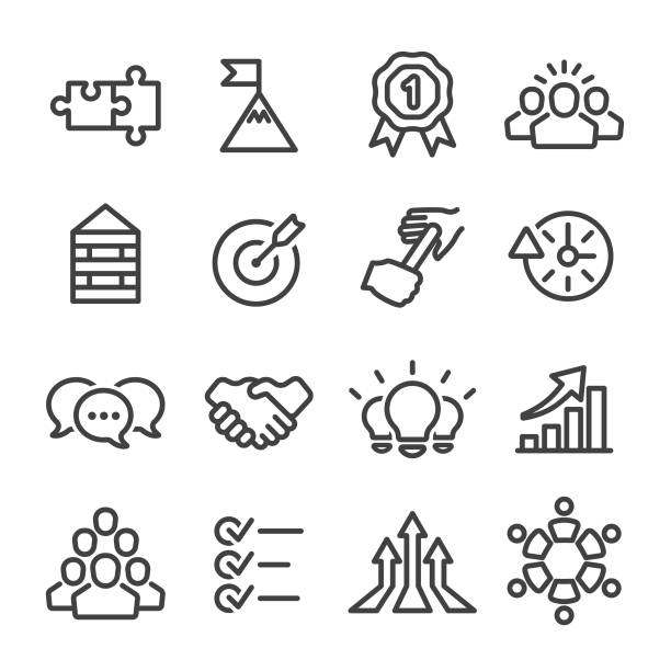 teamwork icons - line series - collaboration stock illustrations