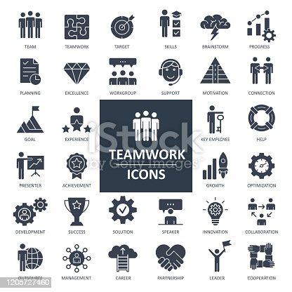 Teamwork Icons - Solid Bold Vector Illustration