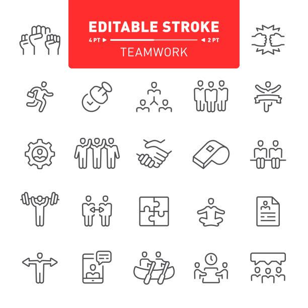 stockillustraties, clipart, cartoons en iconen met teamwork pictogrammen - conflict