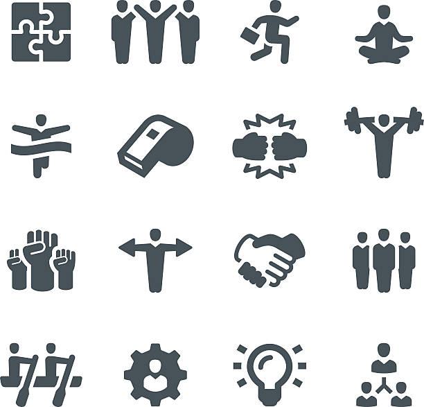 ilustraciones, imágenes clip art, dibujos animados e iconos de stock de iconos de trabajo en equipo - lucha