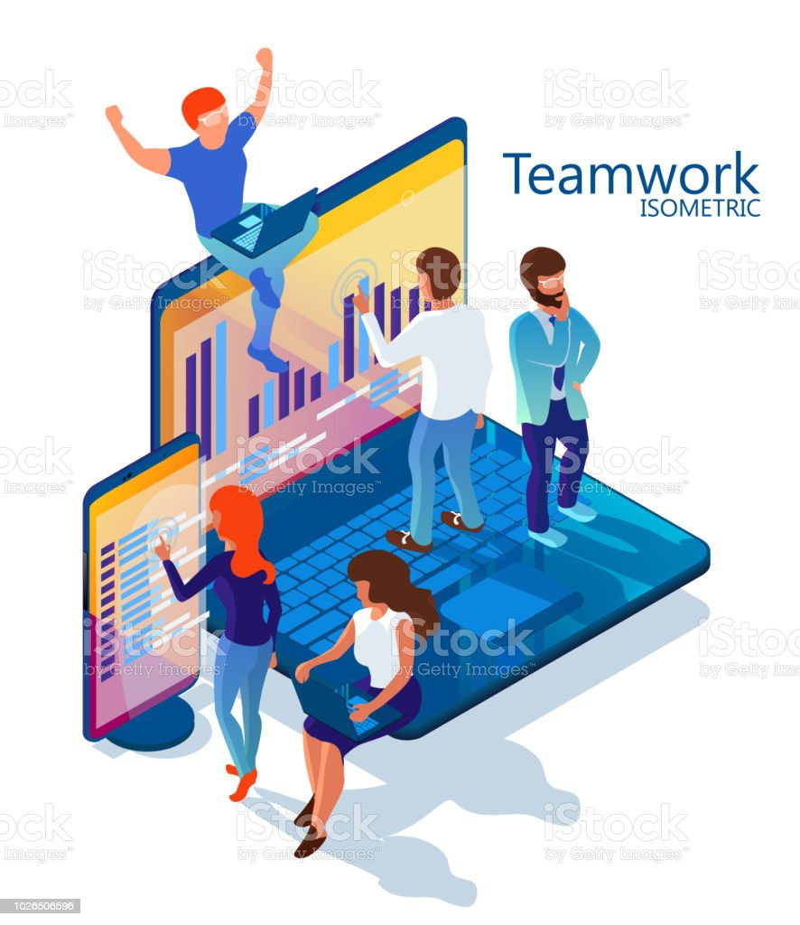 Teamwork. Illustration for the site. Men and women work together on a...