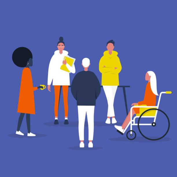 Teamwork. Inclusieve samenleving. Office Meeting. Modern bedrijf. Diversiteit. Platte bewerkbare vector illustratie, clip artvectorkunst illustratie