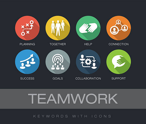 Teamwork keywords with icons vector art illustration