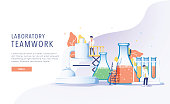 Teamwork laboratory research with science glass est tube vector illustration concept, people por chemiceal liquid, can use for, landing page, template, ui web, mobile app, poster, banner flyer