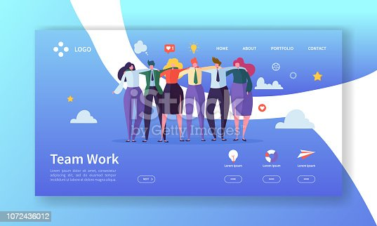 istock Teamwork Landing Page Template. Creative Process Concept with Flat People Characters Working Together Website or Web Page. Easy Edit and Customize. Vector illustration 1072436012