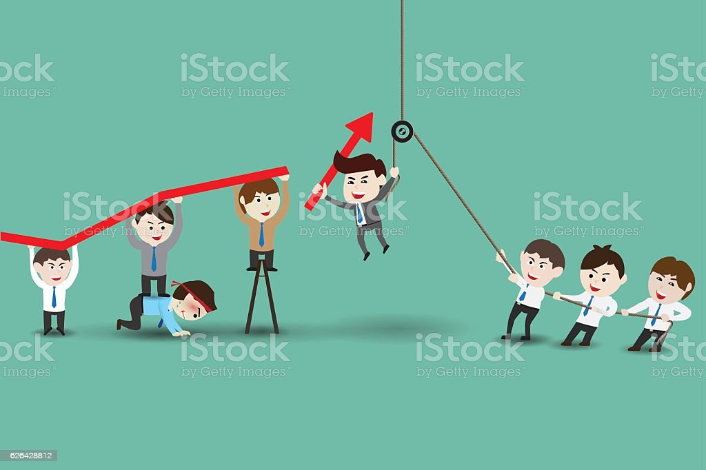 Teamwork leading to successful business vector art illustration