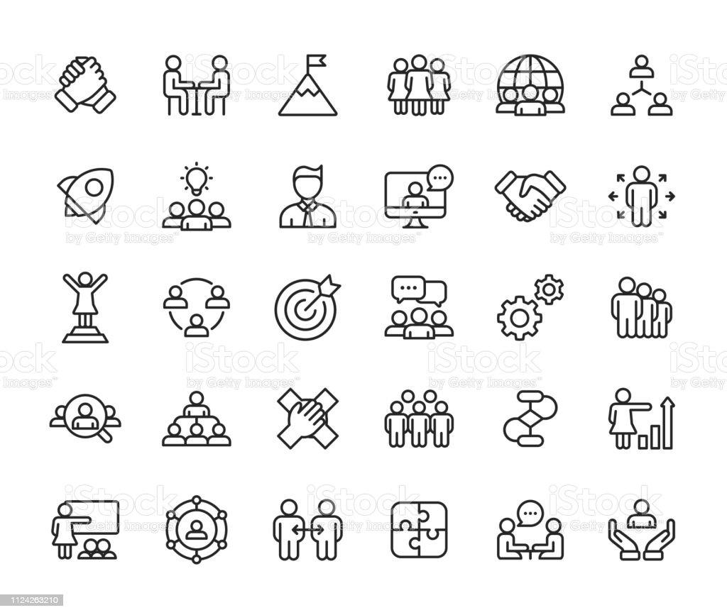 De pictogrammen van de lijn van teamwerk. Bewerkbare beroerte. Pixel Perfect. Voor mobiel en Web. Dergelijke pictogrammen als leiderschap, handdruk, Recruitment, organisatiestructuur, mededeling bevat. - Royalty-free Aspiraties vectorkunst