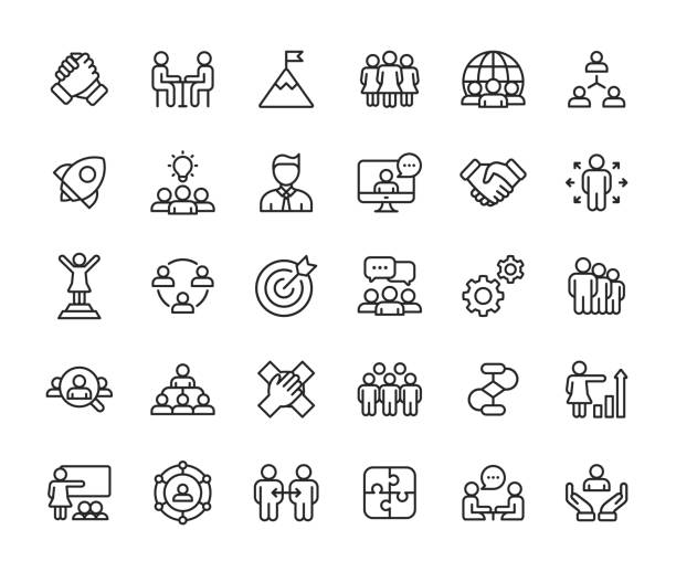 Teamwork Line Icons. Editable Stroke. Pixel Perfect. For Mobile and Web. Contains such icons as Leadership, Handshake, Recruitment, Organizational Structure, Communication. Outline Icon Set. meeting stock illustrations