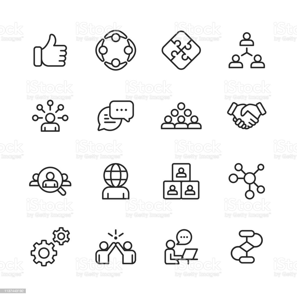 Teamwork Line Icons. Editable Stroke. Pixel Perfect. For Mobile and Web. Contains such icons as Like Button, Cooperation, Handshake, Human Resources, Text Messaging. 16 Teamwork Outline Icons. Achievement stock vector