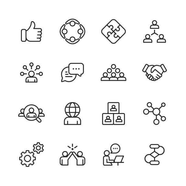 Teamwork Line Icons. Editable Stroke. Pixel Perfect. For Mobile and Web. Contains such icons as Like Button, Cooperation, Handshake, Human Resources, Text Messaging. 16 Teamwork Outline Icons. person icon stock illustrations