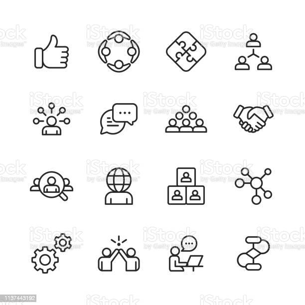 Teamwork Line Icons Editable Stroke Pixel Perfect For Mobile And Web Contains Such Icons As Like Button Cooperation Handshake Human Resources Text Messaging Stock Illustration - Download Image Now
