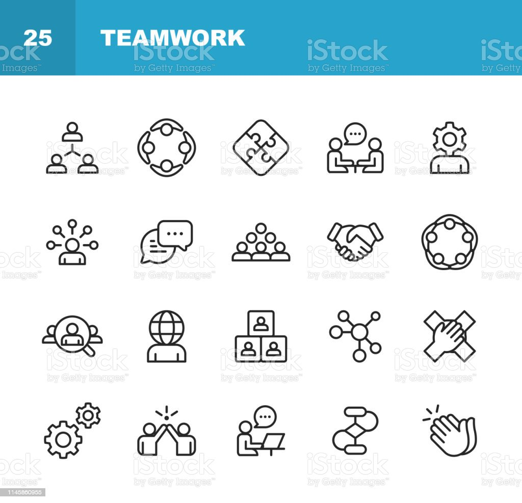 Teamwork Line Icons. Editable Stroke. Pixel Perfect. For Mobile and Web. Contains such icons as Business Meeting, Cooperation, Applause, High Five, Leadership. - Grafika wektorowa royalty-free (Biuro)