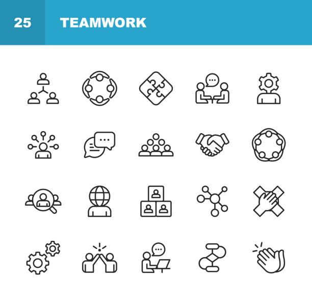 illustrazioni stock, clip art, cartoni animati e icone di tendenza di teamwork line icons. editable stroke. pixel perfect. for mobile and web. contains such icons as business meeting, cooperation, applause, high five, leadership. - cooperazione