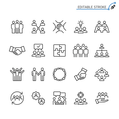 Teamwork line icons. Editable stroke. Pixel perfect. clipart