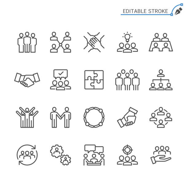 stockillustraties, clipart, cartoons en iconen met de pictogrammen van de lijn van teamwerk. bewerkbare beroerte. pixel perfect. - leader