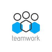 Teamwork logo concept. Team person symbol. Vector illustration
