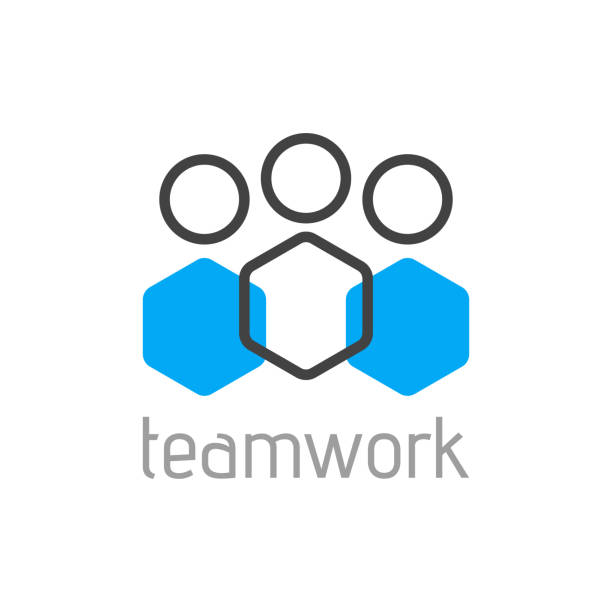 Teamwork logo concept. Team person symbol. Vector Teamwork logo concept. Team person symbol. Vector illustration organized group stock illustrations
