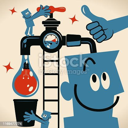 Blue Little Guy Characters Full Length Vector Art Illustration.Copy Space. Teamwork man turning on a tap and water with an idea light bulb flowing from the faucet and coworker holding a bucket to catch it.