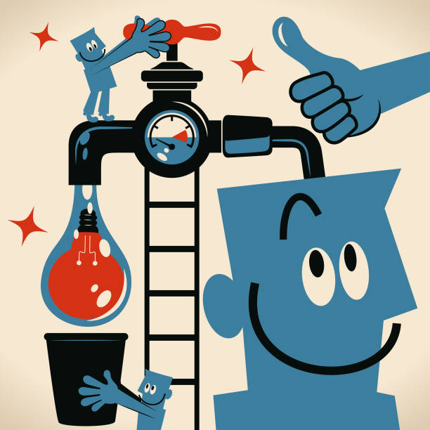 Teamwork man turning on a tap and water with an idea light bulb flowing from the faucet and coworker holding a bucket to catch it vector art illustration