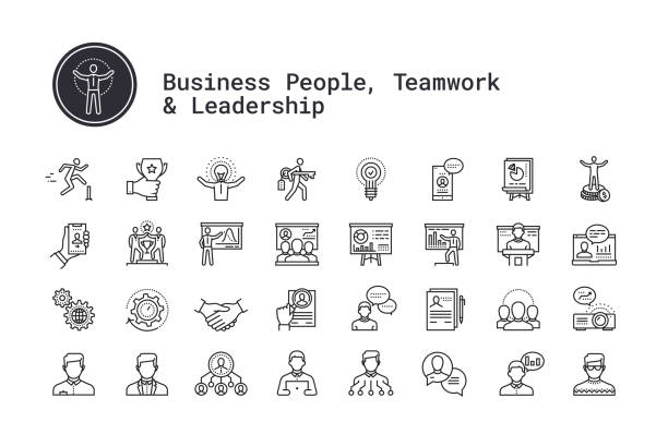Teamwork, management, business people, presentation, public speech linear icons set. Vector clip art collection isolated on white background. Business people, human resources, presentation, leadership and motivational speech thin line icons. Modern linear illustration concept for web and mobile app. Management, employee organization structure, team work, training seminar, conference speaker person vector icons collection. motivation stock illustrations