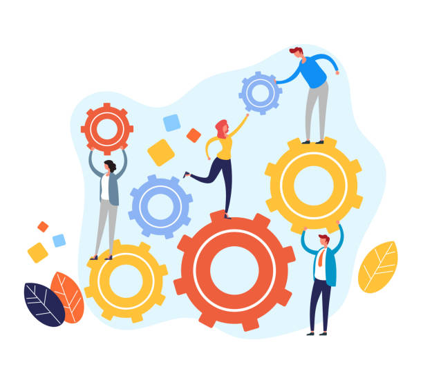 Teamwork-Management-Konzept. Vektor flache Cartoon Grafik-Design-Illustration – Vektorgrafik