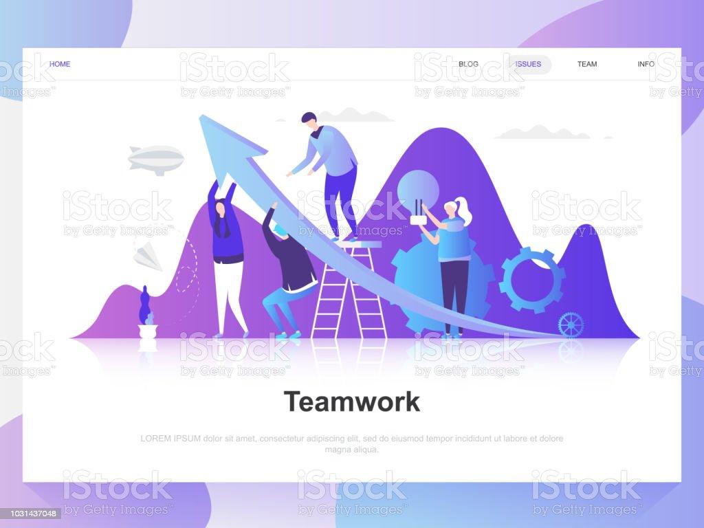 Teamwork modern flat design concept. Landing page template. vector art illustration