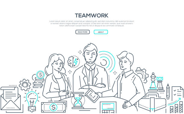 Teamwork - modern line design style illustration vector art illustration