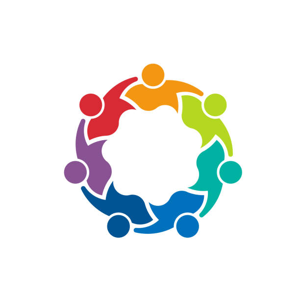 Teamwork of committed people. Logo design Group of seven people together holding each other community icons stock illustrations
