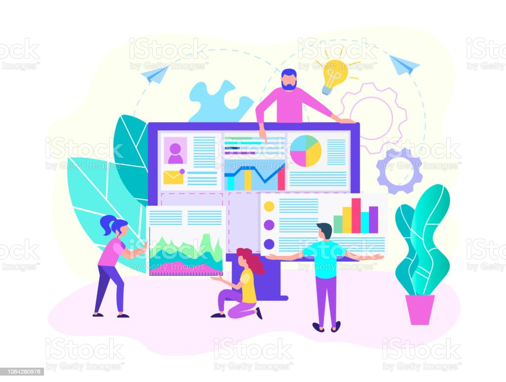 Teamwork of web designers, programmers, web analysts to create a web...
