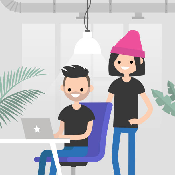 Teamwork. Office routine life. Colleagues discussing a project. Senior manager supervising a junior manager. Modern loft office interior. Flat vector characters. Millennials at work, illustration. vector art illustration