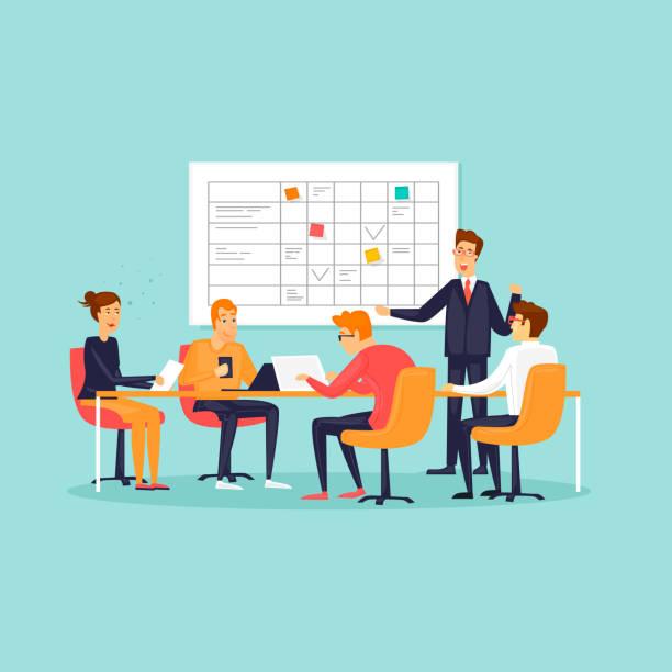 Teamarbeit, Büro, Arbeitsplatz, Zeichen, Business, Plantafel. Flaches Design-Vektor-Illustration. – Vektorgrafik