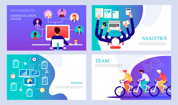 stockillustraties, clipart, cartoons en iconen met teamwork via internet en sociale netwerken. gegevensbeheer. een set van moderne sjablonen voor landingspagina's, presentaties, sites, banners. vector cartoon illustratie - afgelegen