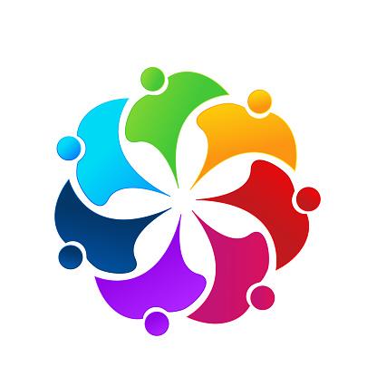 Teamwork Mensen Business Pictogram Identiteitskaart Vector Stockvectorkunst en meer beelden van Achtergrond - Thema