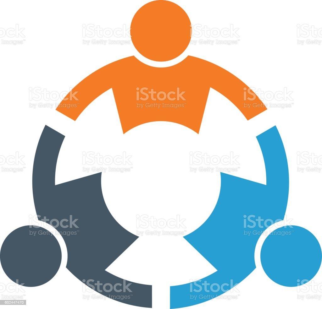 Teamwork People Connected Together Logo vector art illustration