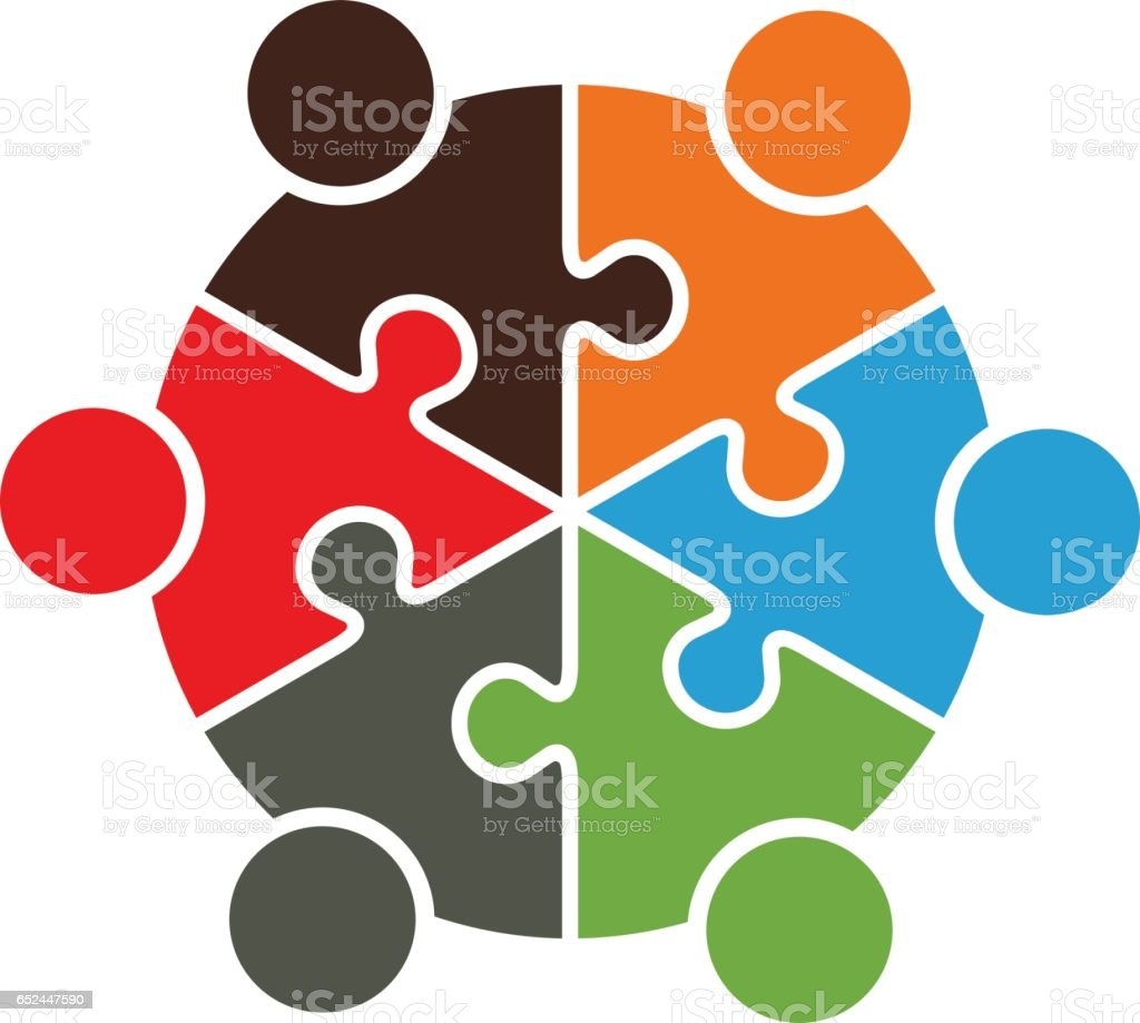 Teamwork People Connected Together Logo Stock Illustration