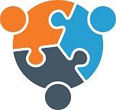 Teamwork People Connected Together Logo