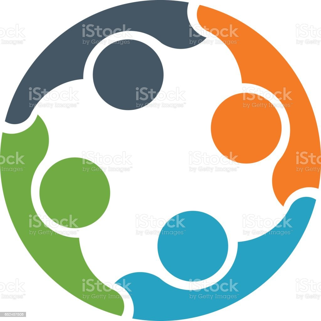 Teamwork People Connected Together Logo vector art illustration