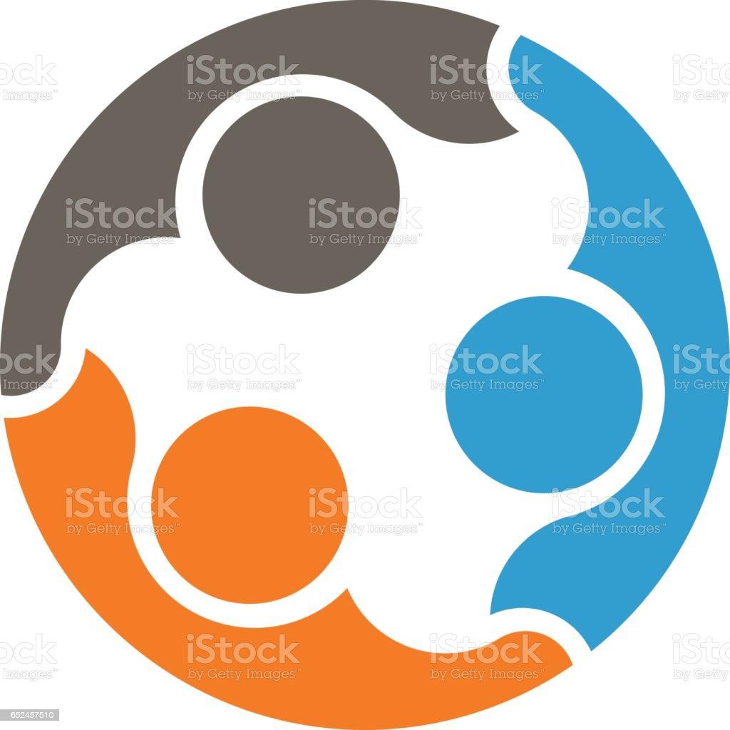 Travail d'équipe de personnes connectées ensemble Logo - Illustration vectorielle