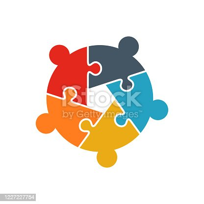 istock Teamwork People jigsaw puzzle five person pieces logo. Team Building concept. People business group 1227227754