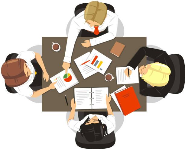 illustrazioni stock, clip art, cartoni animati e icone di tendenza di lavoro di squadra persone per riunioni ii - business meeting, table view from above