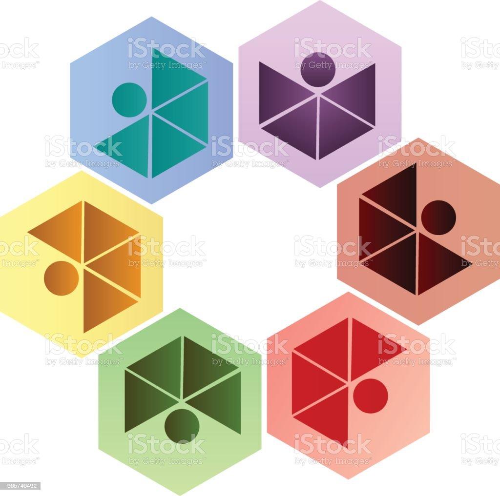 Teamwork mensen apotheek bedrijf zeshoek vorm pictogram identiteitskaart vector - Royalty-free Achtergrond - Thema vectorkunst