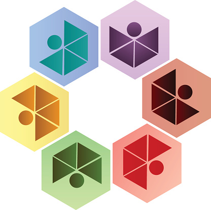 Teamwork Mensen Apotheek Bedrijf Zeshoek Vorm Pictogram Identiteitskaart Vector Stockvectorkunst en meer beelden van Achtergrond - Thema