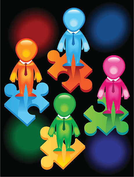 Teamwork- people-puzzles Men joining together to form one team in one direction.To achieve one goal deem stock illustrations