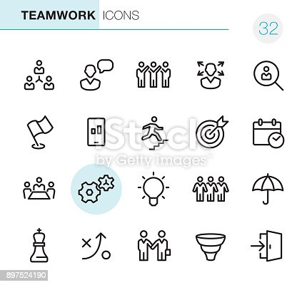 20 Outline Style - Black line - Pixel Perfect icons / Set #32 Teamwork / Icons are designed in 48x48pх square, outline stroke 2px.