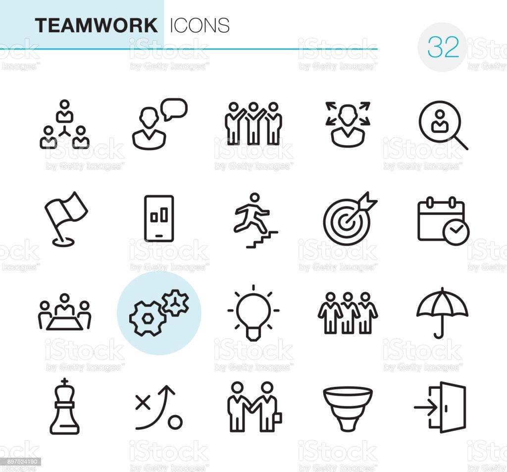 Teamwork - Pixel Perfect icons vector art illustration