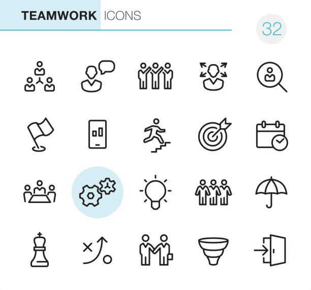 Teamwork - Pixel Perfect icons 20 Outline Style - Black line - Pixel Perfect icons / Set #32 Teamwork / Icons are designed in 48x48pх square, outline stroke 2px. sales occupation stock illustrations